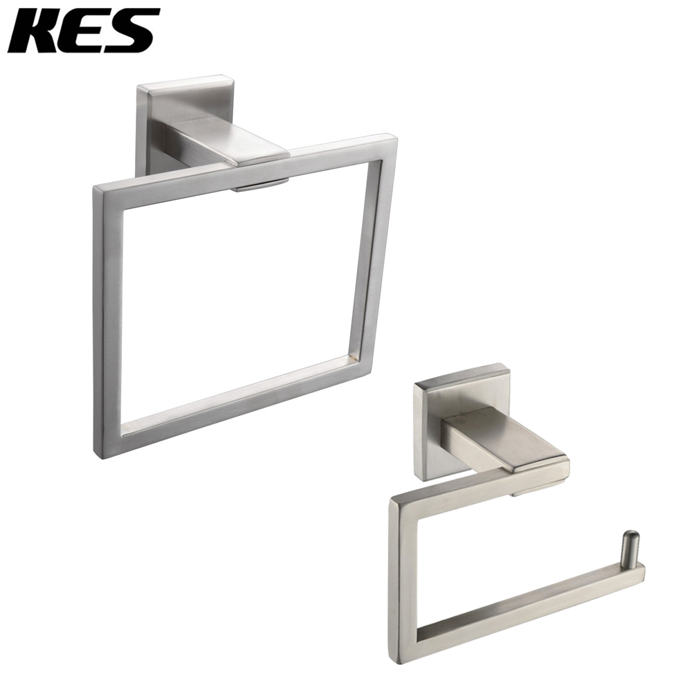 KES Bathroom Accessories Toilet Tissue Holder/Towel Ring SUS304 Stainless Steel Wall Mount, Brushed Finish, LA242-21 high quality bathroom accessories stainless steel black finish towel ring holder