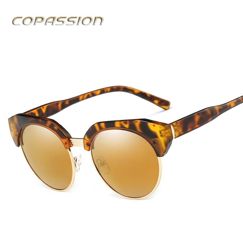 2017 New Fashion sunglasses women polarized brand designer Semi-Rimless cat eye sunglass Vintage Round Metal Sun glasses oculos