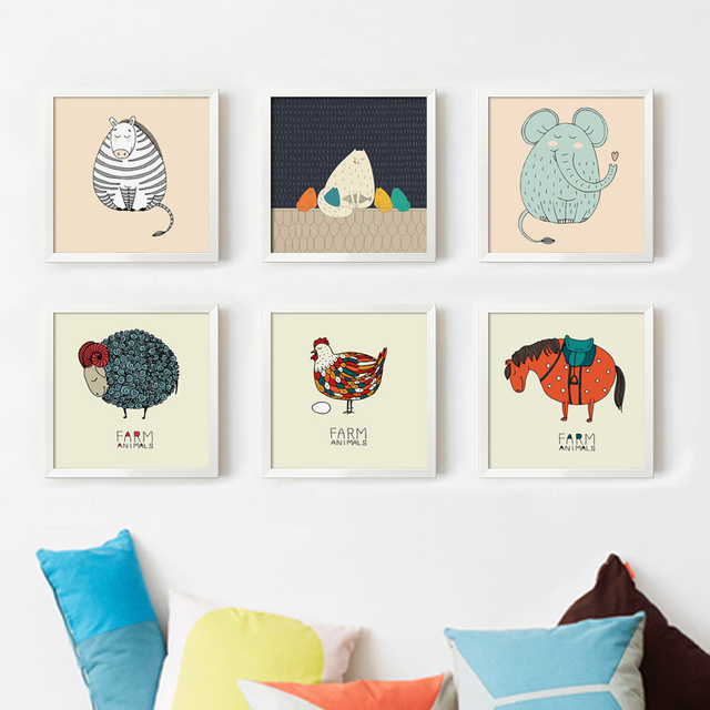 bianche wall simple and cute fat cartoon small animal canvas art painting print poster picture wall - Small Animal Pictures To Print