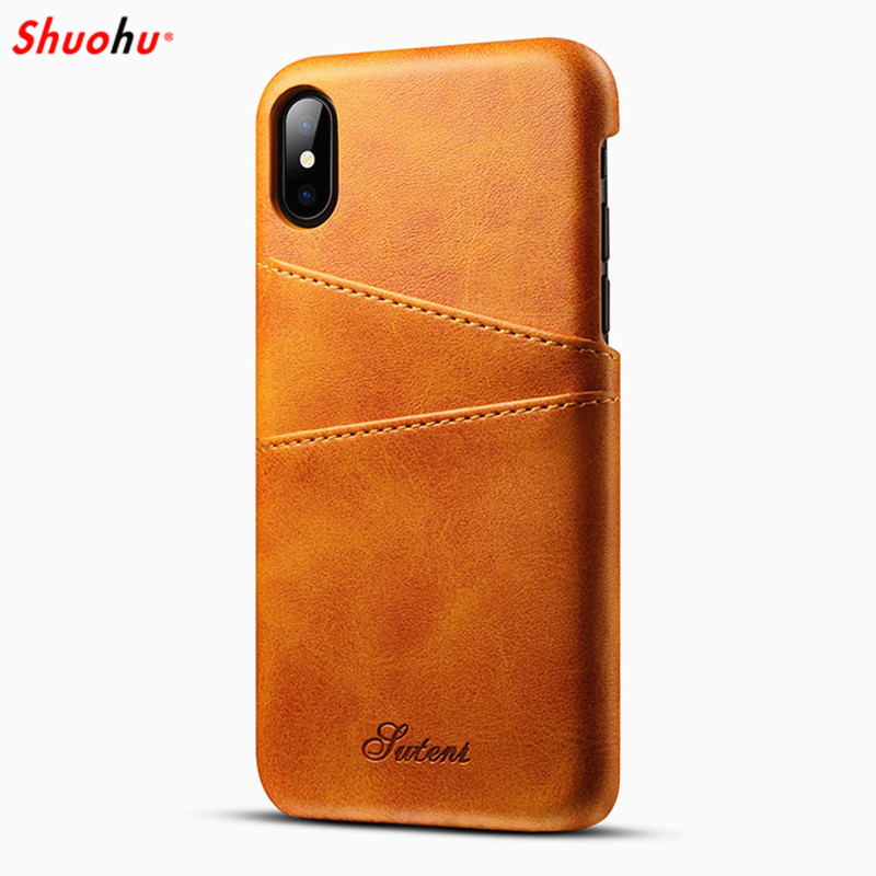 SHUOHU Luxury PU Leather Phone Cases for IPhone 7 8 6 6s Plus Case Protective Card Holder Wallet Bag for IPhone X Case Cover