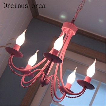Железная люстра в Корейском стиле ресторанная свеча люстра скандинавские детские спальни лампы