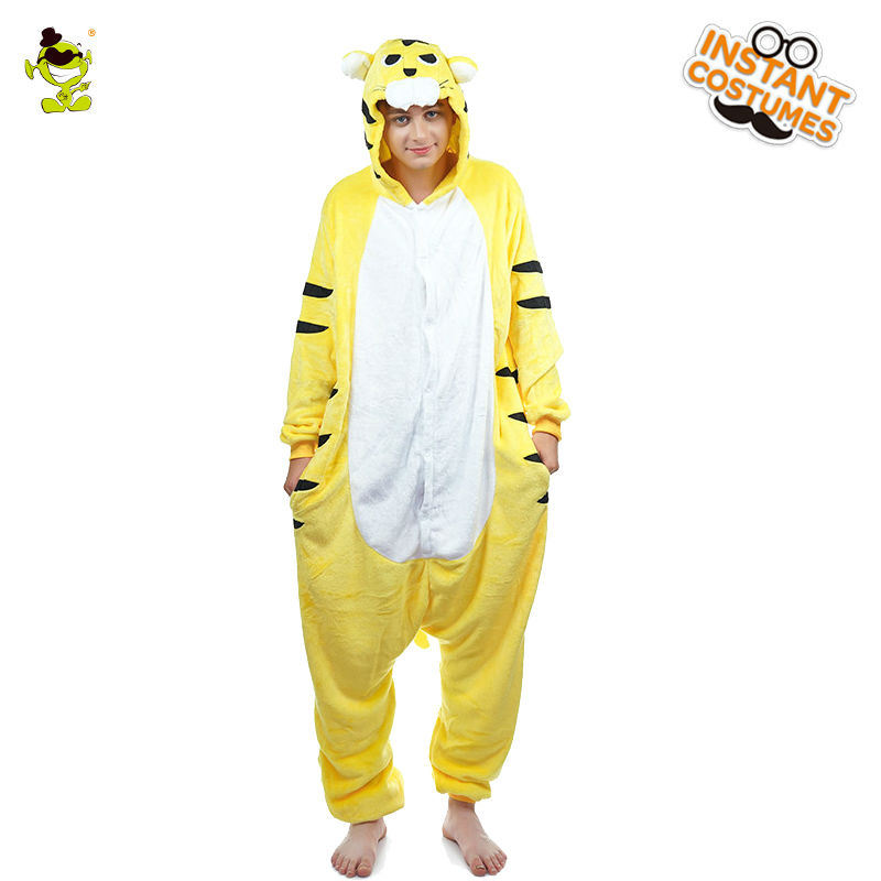 Adult Men's Animal Tiger Pajamas Costume Masquerade Comfortable Nightwear Pajamas Cosplay Pajamas Costumes Party