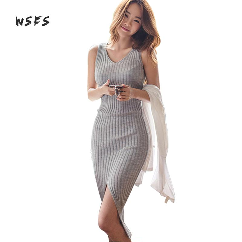 Summer Gray Knitted Long Wrap Dresses Tank Sleeveless Stretch Women Dress Ladies Sexy Elegant Bodycon Midi Sundress Vestidos emir roffer 2018 sexy stripe knitted dress bodycon wrap pencil spring summer casual elegant ladies dresses women female robe