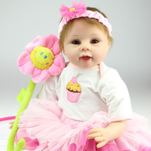 "22″ Soft Silicone Vinyl Adora Cuddly & Weighted Toddler Doll ""Happy Birthday Baby"" Reborn Baby Doll in Eyelet Dress"
