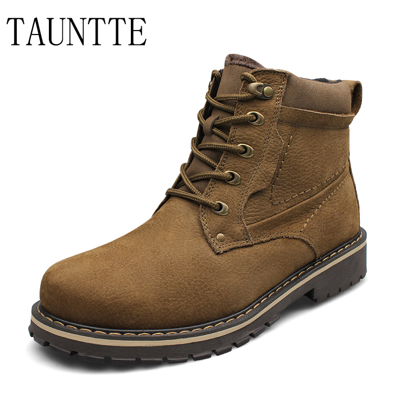 Tauntte Plus Size Winter Genuine Leather Ankle Boots Men Waterproof Nubuck Leather Martin Boots Warm Work Boots With Fur free shipping autumn winter genuine leather men s work ankle boots martin boots british style western cowboy boots for men botas