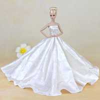 Top Doll Handmade Dress Evening White Purely Manual Clothes Wedding Dress For Barbie Dolls Noble Suit