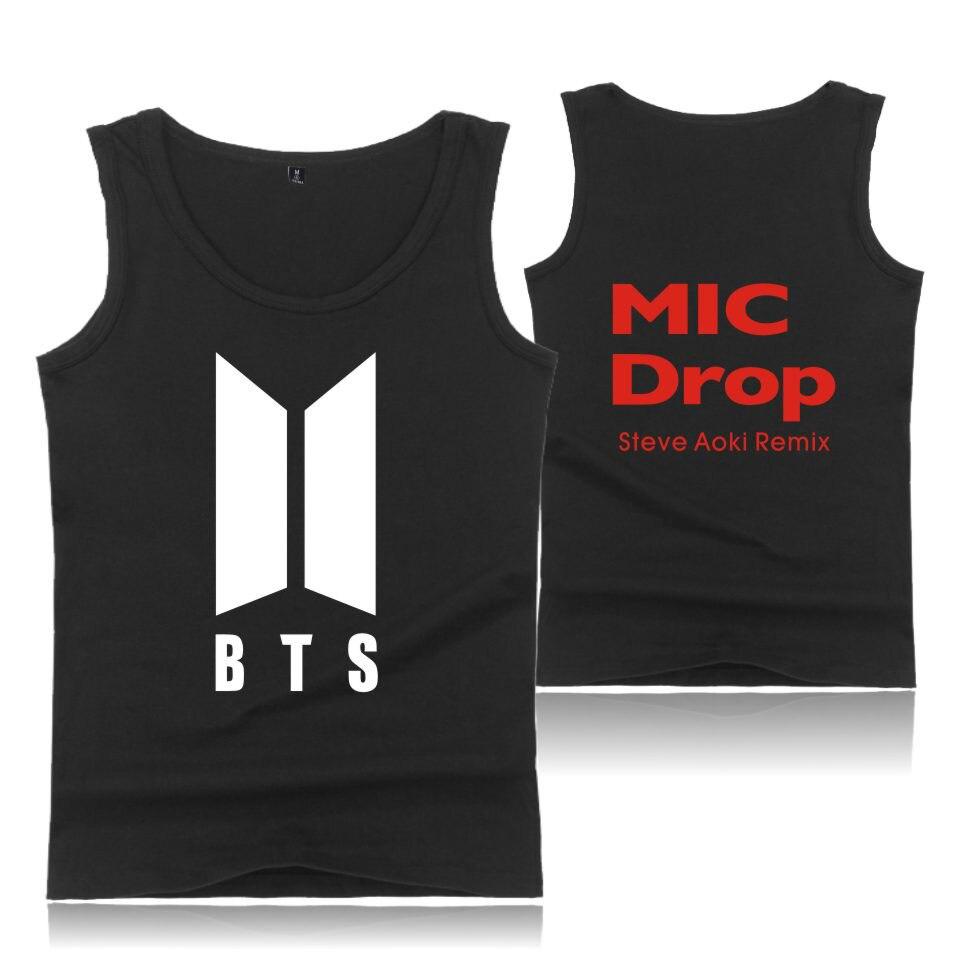 New Album Sleeveless Shirts BTS Kpop MIC Drop Tank Top Bangtan Boys Men/women Tank Top Cotton BTS Fashion Vest Clothes 4XL
