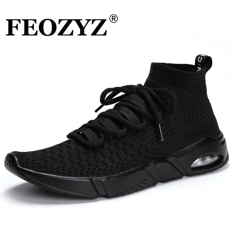 7505ac706adc FEOZYZ 2018 Nouvelle Air Sole Chaussures de Course Hommes Tricot Supérieur  respirant High Top Sneakers Hommes