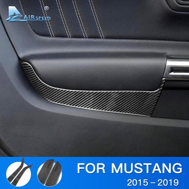 Airspeed pour Ford Mustang accessoires 2015 2016 2017 2018 2019 fibre de carbone voiture panneau de couverture autocollant garniture intérieure autocollant