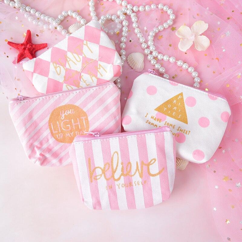 1PC Portable Student Bag Canvas Pink Cosmetic Bag Women Sweet Zipper Purse Makeup Bag Beauty Pouch Organizer