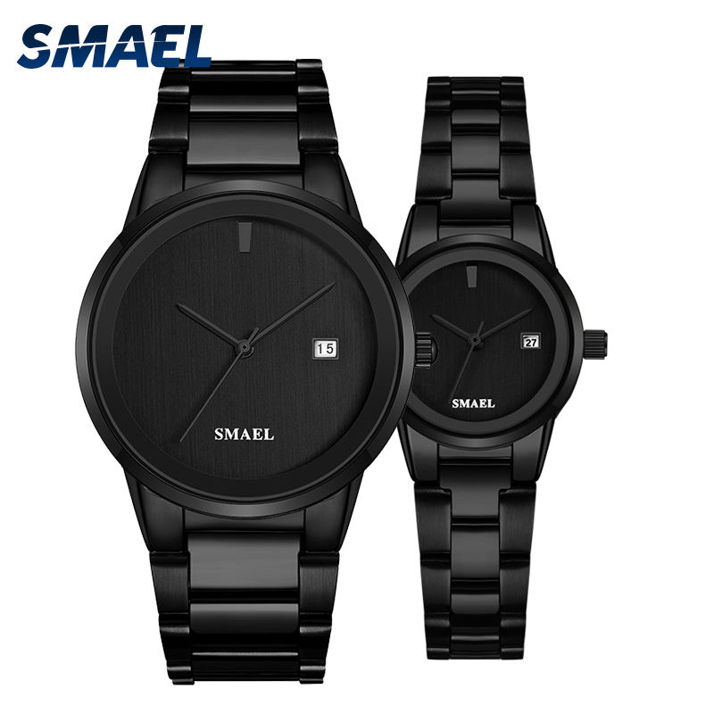 2019 SMAEL Watch Offer Set Couple LUXURY Classic Stainless Steel Watches Splendid Gent Lady 9004 Waterproof Fashionwatch Set