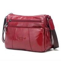 100% Genuine Leather Women Messenger Sling Shoulder Bag Fashion Casual Ladies Satchel Famous Brand Female Hobo Cross Body Bags