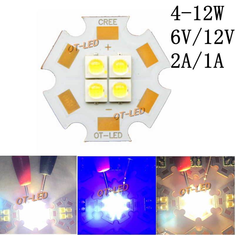 10pcs 6V/12V Car Light 3535 4Chips 4W-12W LED Emitter Cool White Warm White Red Blue Green LED with 20MM Copper PCB for DIY