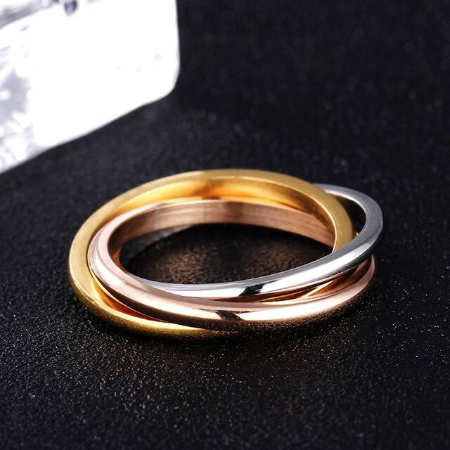 3 Color Anel 18KGP Brand Rings For Women Elegant Party Wedding Rings Rose Gold F