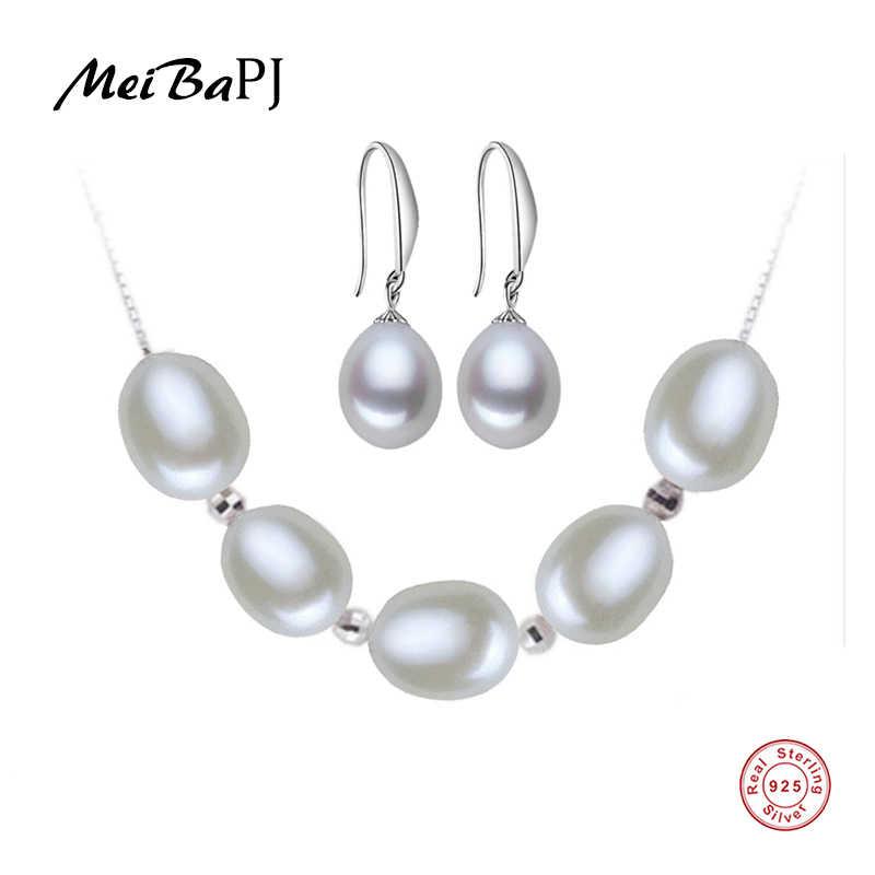 [MeiBaPJ] de Alta qualidade colar de pérolas naturais set com 925 sliver beads para mulheres 4 cores sterling sliver jóias com caixa de presente