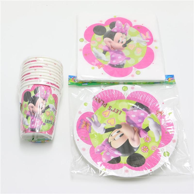 40pcs cartoon <font><b>minnie</b></font> mouse theme kids birthday party decoration 10 plate+10 <font><b>cup</b></font>+20 napkin disposable paper tableware set girls