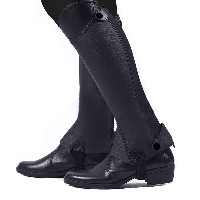 Soft Leather Equestrian Horse Riding Gaiters 1 Pair Half Chaps Leg Covers Outdoor Horse Riding Racing Leg Protector Equipment