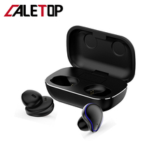 CALETOP TWS 5.0 Wireless Bluetooth Headphone with Microphone Handsfree CVC8.0 Hifi Touch Headsets Waterproof 2600mAh Power Case