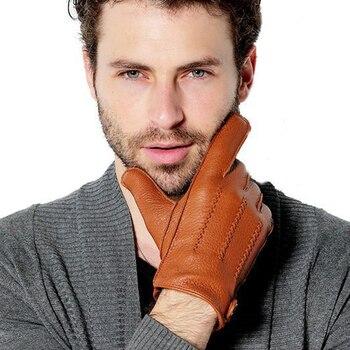 Fashion Luxury Men Deerskin Gloves Button Wrist Solid Genuine Leather Male Driving Gloves Winter Warm Gloves Free Shipping 1