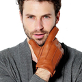 KURSHEUEL Men Deerskin Gloves Button Wrist Solid Genuine Leather Male Winter Driving Knitting Warm Gloves Free Shipping