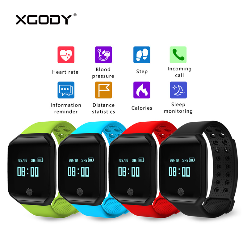 In Stock XGODY Z66 Smart Wrist Band Pedometer Heart Rate Monitor Blood Pressure Smart Bracelet Fitness Tracker for iOS Android