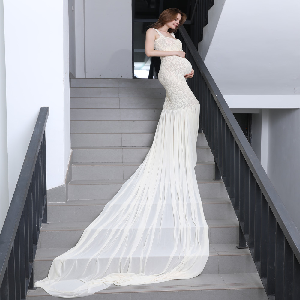 Clearance! M size Stretch Lace long train Shoulder Strapped Maternity Dress MATERNITY PHOTOGRAPHY PROPS BABY SHOWER GIFT
