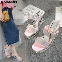 цена TINGHON Summer Rivets Rhinestone Wedge Slippers Platform High Heels Women Outside Shoes Wedge Slipper slides Sandals Pink Black в интернет-магазинах