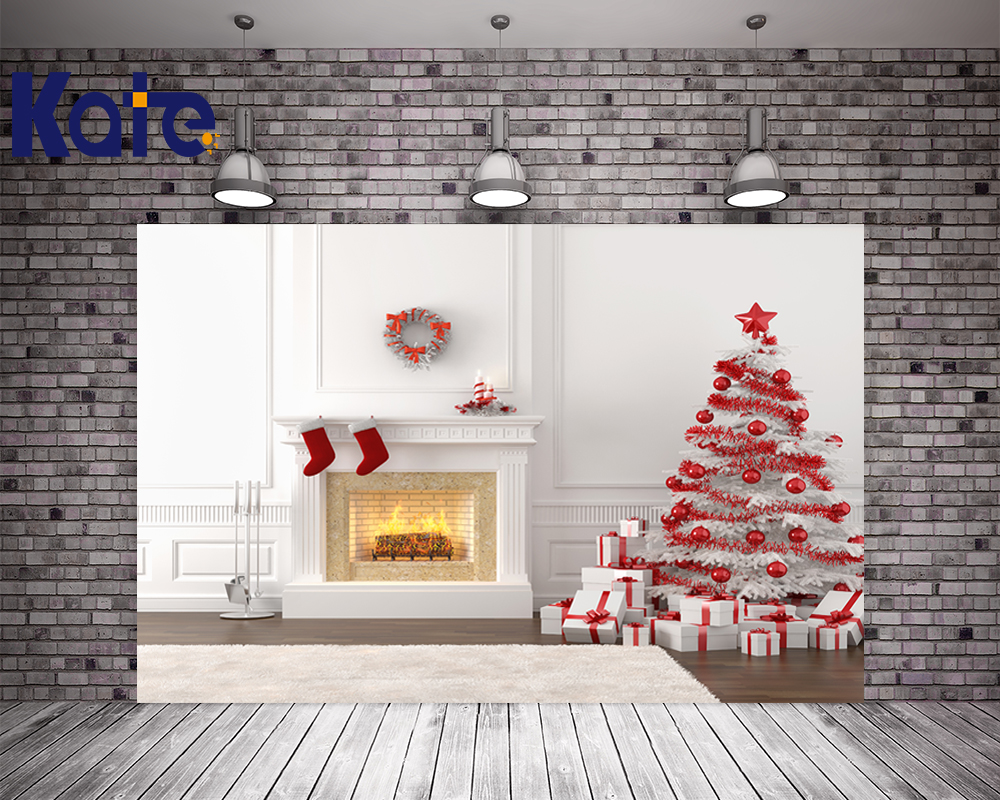 Kate Christmas Backdrops For Photography Indoor White Background Red Christmas Tree Stove For Children Photo Backdrop retro background christmas photo props photography screen backdrops for children vinyl 7x5ft or 5x3ft christmas033
