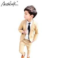 ActhInK 2018 Spring Baby Boys Beige Suit for Wedding Boys Brand Design 2Pcs Boys Blazer Clothing Set Children School Suit, TC112