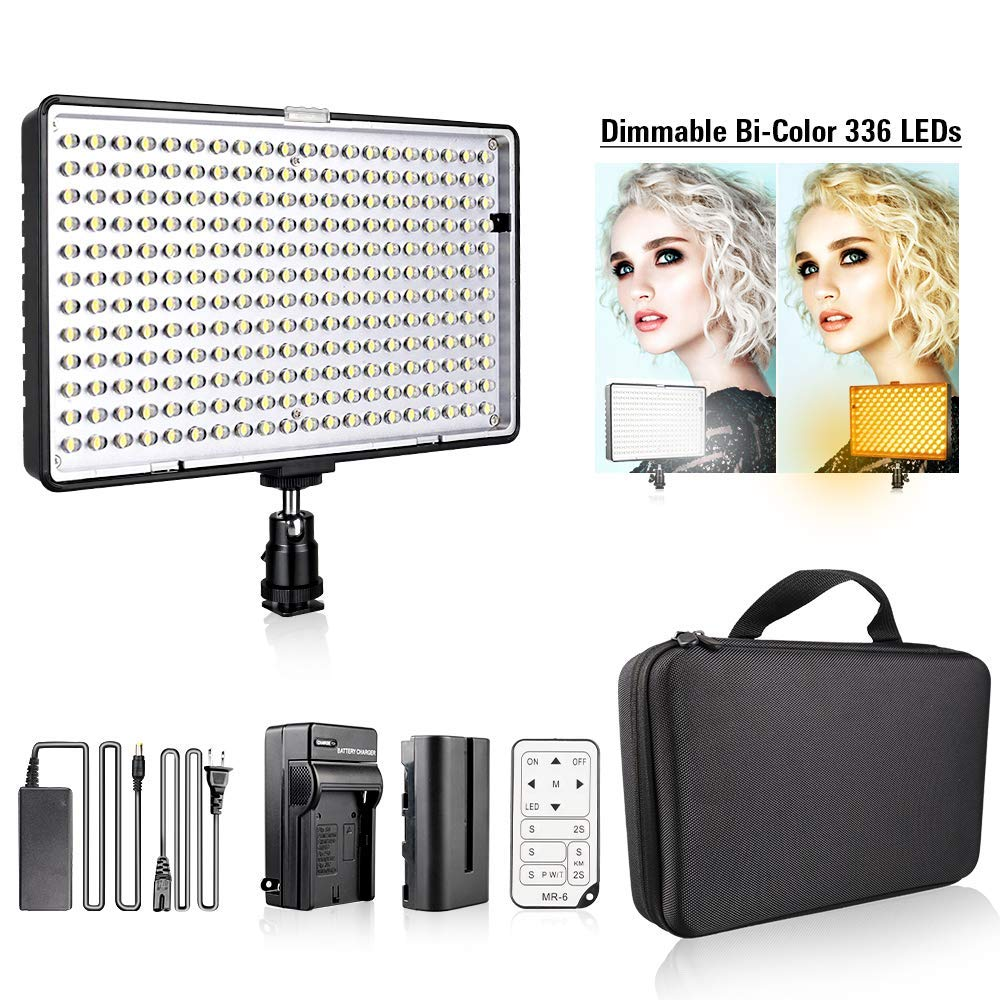 Travor 336pcs Led Video Light Bi Color 3200K 5500K Camera Light CRI 93 24W light Panel with Rechargeable Battery Power Adapter