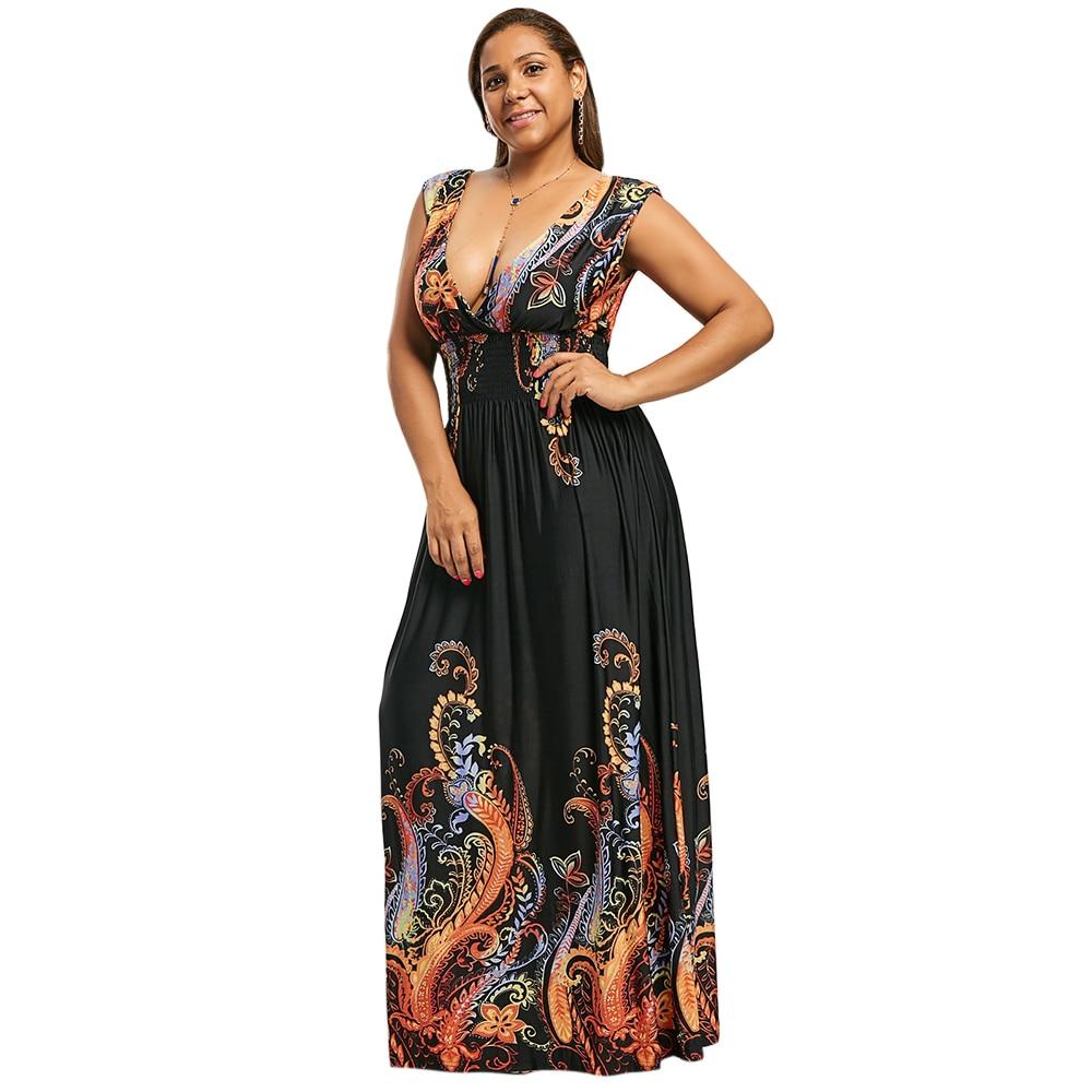 Kenancy 2018 New Bohemian Floral Print Plus Size Sexy Plunge V Neck  Sleeveless Maxi Beach Dress 7f99bcc4b3cb