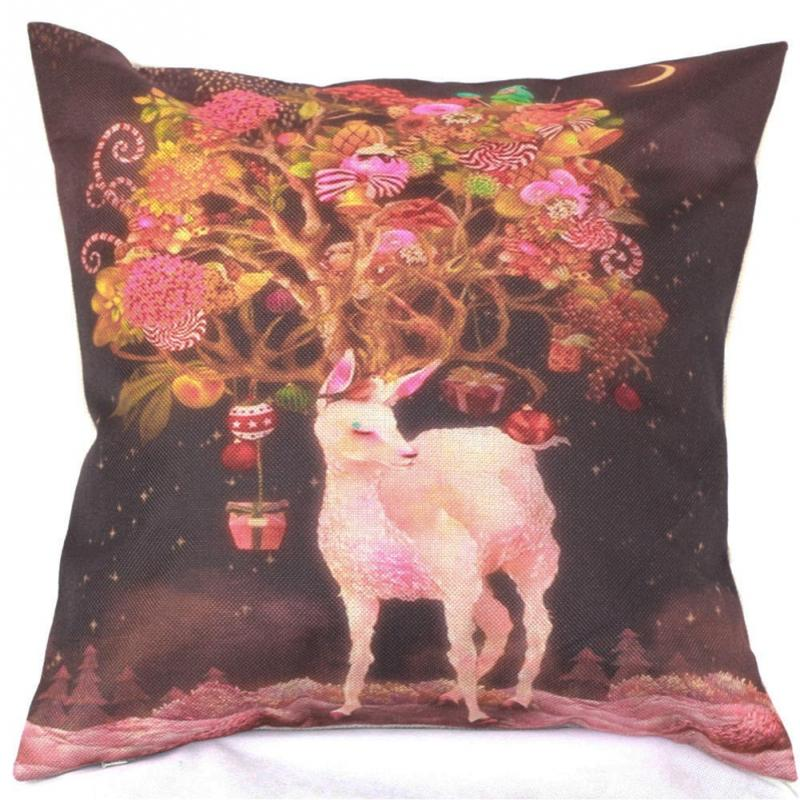 Christmas Colored Drawing Deer Cotton Linen Pillow Case Cushion Cover decorative pillows-in ...