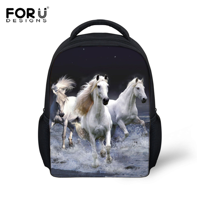 4a7d5673cc3 Small 3D Zoo Animals School Bags for Kindergarten Baby,Crazy Horse Backpack  Preschool Kids Book