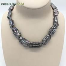 Ожерелье с жемчугом в стиле барокко черное/серое ожерелье неровным