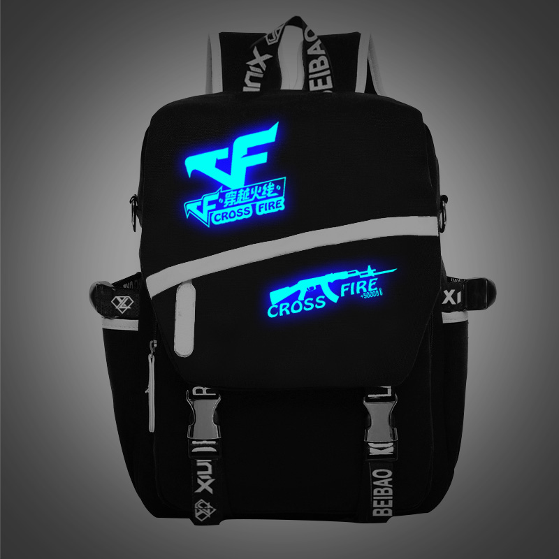 2017 New Fashion Cross Fire Backpack FPS games backpack CS gaming schoolbag luminou innovation pattern
