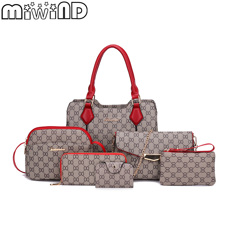 Women's Handbags Female Shoulder Messenger Bag PU leather High Quality Retro 6-piece Set Designer Brand MIWIND 2018 New Bolsa miwind new fashion leather handbags high quality women shoulder bags buy one get another free full set 6 pieces more favorable