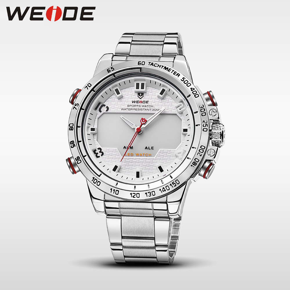 Weide luxury business men watch stainless steel date digital led metal clock bracelets sport quartz contracted in quartz watches cjiaba y59 men s fashionable pu band self winding mechanical wrist watch black silver