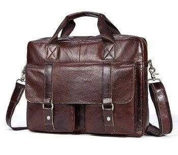 Men's Genuine Leather Casual Business Briefcase Men's Shoulder Messenger Bag Cross Section 14 Inch Laptop Bag Men's Backpacks