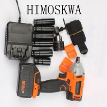 HIMOSKWA Lithium rechargeable electric wrench impact wrench cordless tool sleeve 10 battery (8000mA battery motor 1 split)