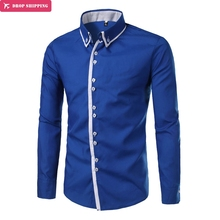 Brand Fashion Male Shirt Long-sleeves Tops Solid Color Splicing Mens Dress Shirts Slim Men Shirt