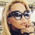 HapiGOO Moda Gran Tamaño Ojo de Gato de La Vendimia gafas de Sol Mujeres Diseñador de la Marca Gafas de Sol Mujer Grande Retro Espejo Señoras Gafas
