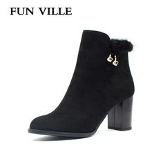 ФОТО fun ville 2017 autumn winter women ankle boots hignt quality flock round toe zipper faux fur size 35-42