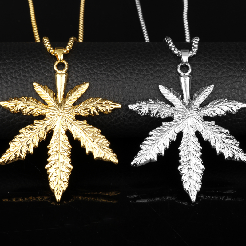 dpngsheng 2018 New Gold Silver Plated <font><b>Cannabiss</b></font> Small Herb Charm Necklace Maple Leaf Pendant Necklace Hip Hop Jewelry -30 image