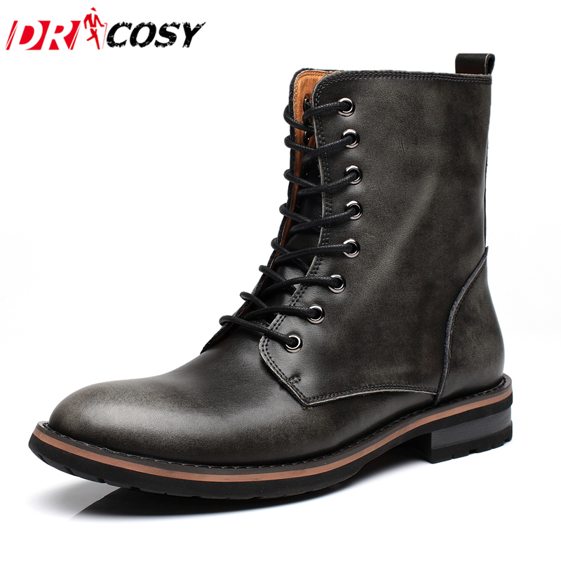 New Fashion Genuine Leather Men Boots Vintage Style Winter Boots High-top Casual Martin Boots Ankle Botas Brand Motorcycle Boots 2015 men fashion martin boots men pu leather winter ankle boots motorcycle winter men boots