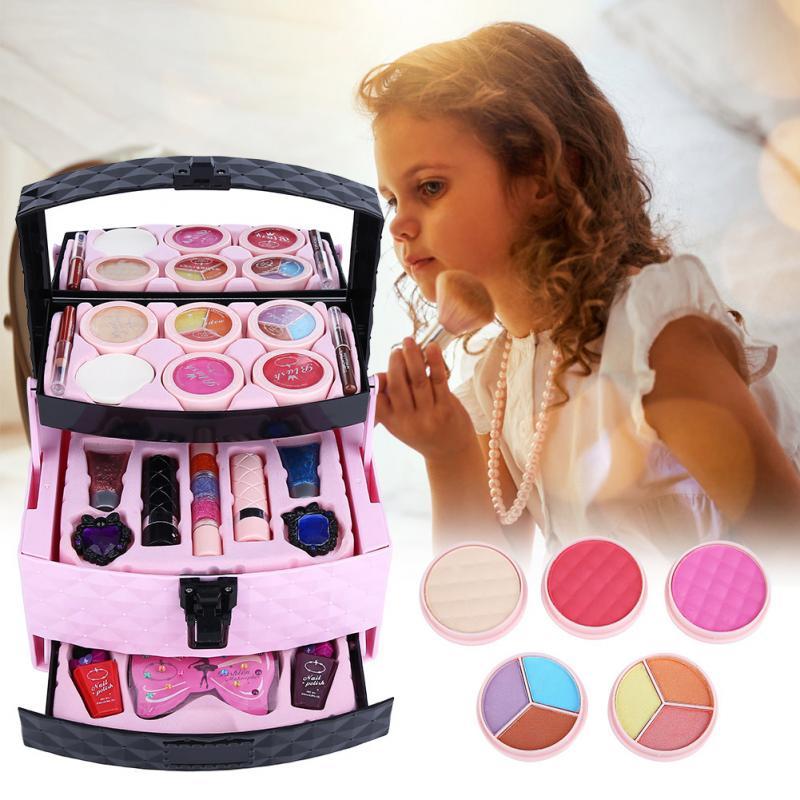 Girls Princess Makeup Box Set Make Up Case Powder Blush Cosmetic Set Kids Makeup Playing Toys