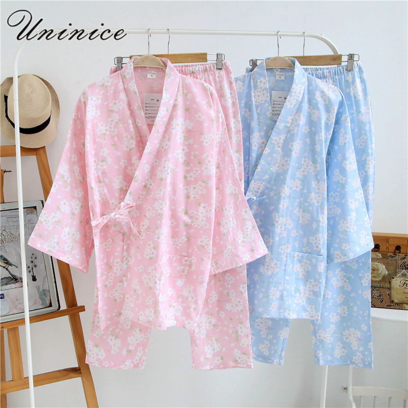 Japanese Kimono Pajamas Sets Women's Yukata Robes Long Pants Sleepwear Bathrobe Cotton Dress Suits Nightgown Leisure Homewear