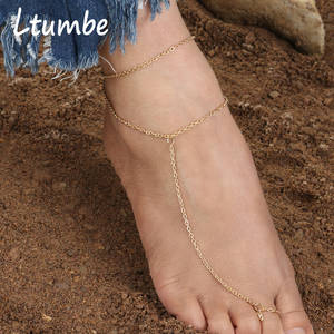 Ltumbe Anklets Barefoot-Accessories Long-Chain Simple-Style Women for New-Arrival Sexy
