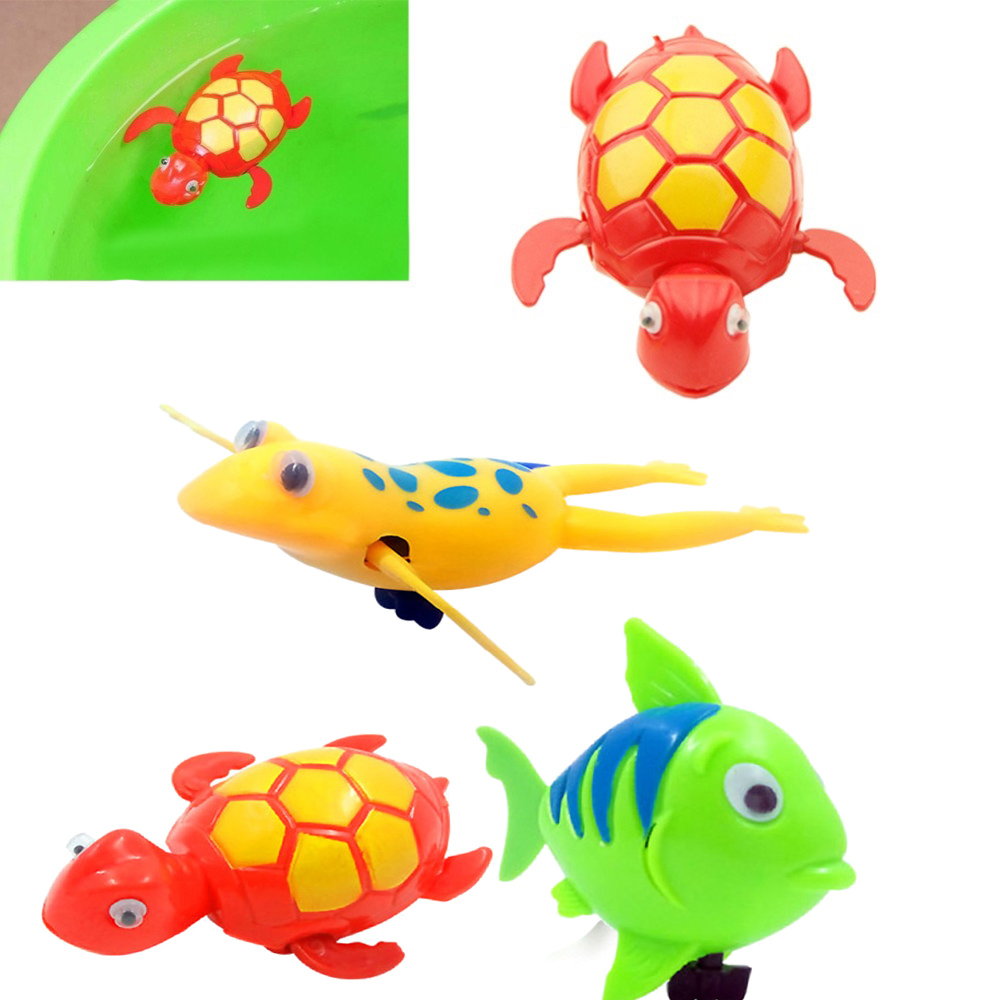 Bathroom Tub Bathing Toy Clockwork Wind UP Plastic Bath Animal Pool For Baby  LA