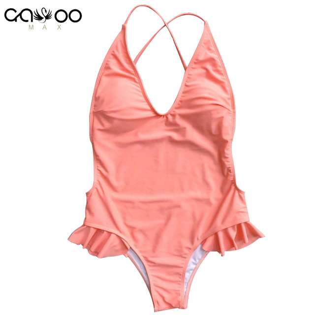 ad19a671adcaa 2018 Sexy Pink ruffled frill trim one piece swimsuit V neck Bather Women  swimwear Female Bathing