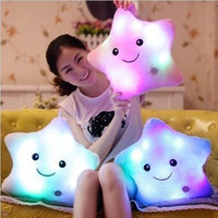 Colorful Star Glow LED Luminous Light Pillow Cotton Cushion Soft Relax Gift Smile Gift For Christmas